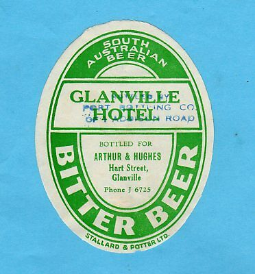 Glanville  Hotel.  Bottled  By  Arthur & Hughes.  Port  Bottling  Co.