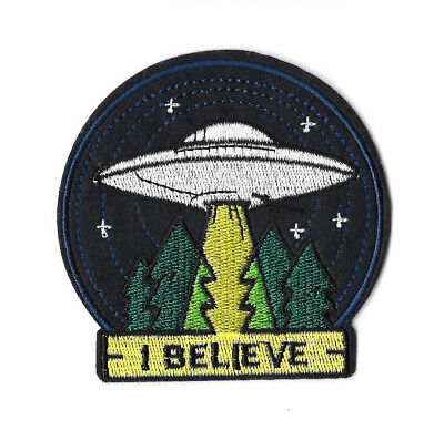 I BELIEVE Iron on / Sew on Patch Embroidered Badge UFO Aliens PT356