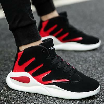 Fashion Mens Basketball Shoes Lightweight Lace Up Trainers Shoes Sports Sneakers