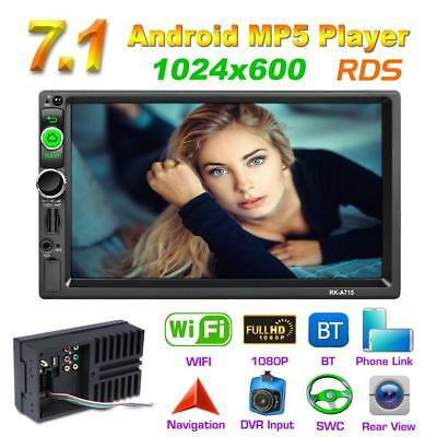 2Din 7'' Quad Core Android 7.1 GPS Navi RDS Car Stereo MP5 Player AM FM Radio