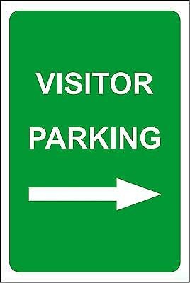 Visitor parking arrow right safety sign