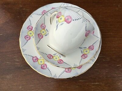Vintage China Tea Set Trio Cup Saucer Plate Pink Yellow Flower New Chelsea DECO