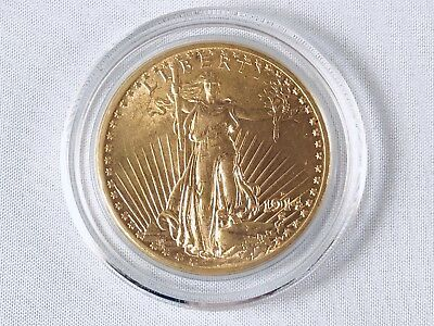 1914-D Gold $20  Saint Gaudens  No Motto Beautiful Luster, Exceptional Value.