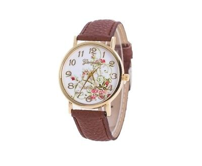 Women's Girl's Floral Brown Faux Leather Wrist Watch Bracelet NEW