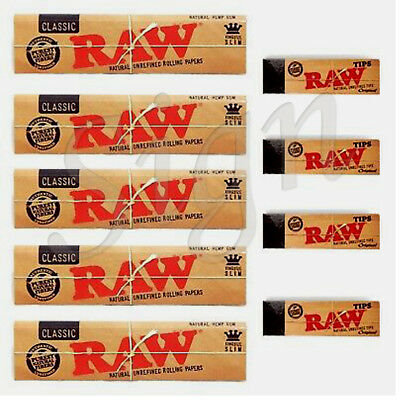 Raw Rizla Classic King Size Slim 110Mm Rolling Paper With Roach Filter Tips