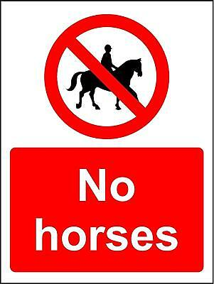 Prohibition signs No horses safety sign