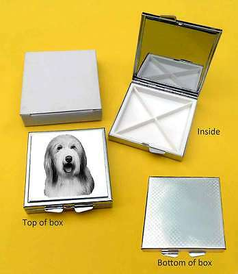Bearded Collie Dog Polished Metal Square Pill Box with 4 compartments Gift