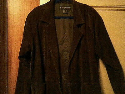 Savannah Womens Full Length 3 Button Suede Leather Lined Winter Coat Brown Sz M