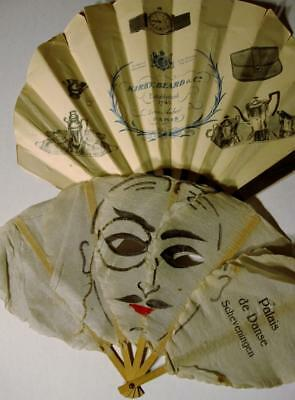 Lot Of 2 Antique Advertising Fan Germany France Deco Face Watercolor