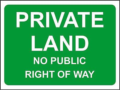 Private land no public right of way safety sign