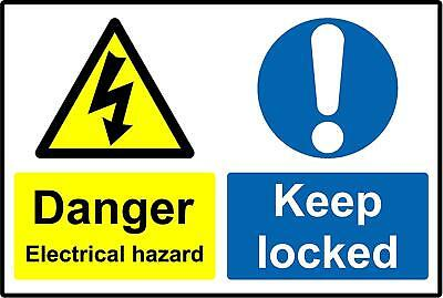 Danger electrical hazard keep locked sign