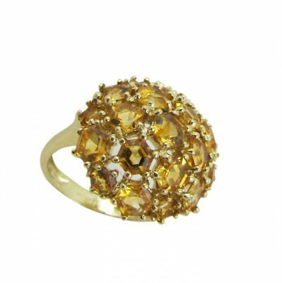 9ct Yellow Gold QVC Cluster Yellow Hexagon Gemset Ring 4.6 Grams Size N 1/2 US 7