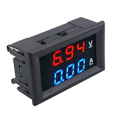 HOT DC 100V 10A Voltmeter Ammeter Blue+Red LED Dual Volt Amp Meter Gauge@ MI