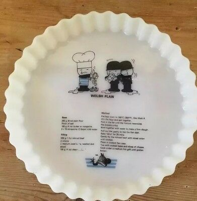 Homepride Fred White Glass Large Flan Dish - Vintage Ovenware with recipie
