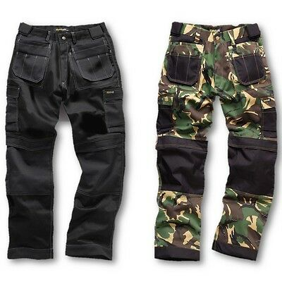 Mens Heavy Duty Pro Work Trousers Reinforced Knee Army Camo Black Workwear Ek