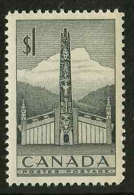 Canada #321 $1 Grey Totem Pole 1953 Karsh Issue Ribbed Paper - VF-84 NH