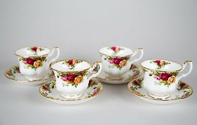 Royal Albert Old Country Roses Footed Cups and Saucers, Set of (4), England