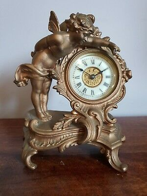 Vintage Ansonia Clock Co. Cherub Mantel Clock Cast Metal (Gold French Rococo)