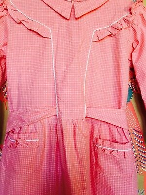 GIRLS DRESS 60s 70s 9-10-11years Cotton Pinafore Gingham Check Pink Pockets Bow