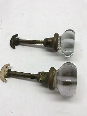 Pair Of Vintage Door Knobs Glass Crystal & Brass. Thumb Turn Handle. Antique
