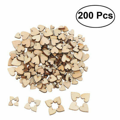200 Pcs Blank Wood Heart Discs Wooden Cutout for Arts Crafts Wedding Valentine