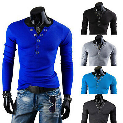 Men V Neck Henley Shirt Tops Slim Fit Casual Long Sleeve Button T-Shirt Tops XL