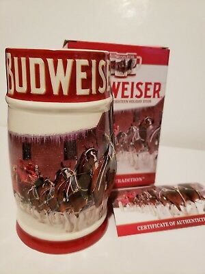 2018 Budweiser Bud Anheuser Busch Annual Holiday Christmas Stein   FREE SHIPPING