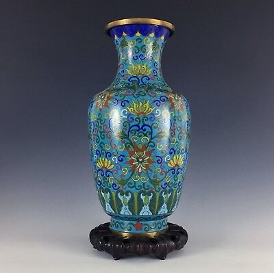 Antique Chinese Cloisonne Vase and Stand Qing 19th Century