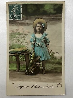 Antique RPPC CPA rare French Tinted Painted Fish AprIl Fools Day Carte Postale
