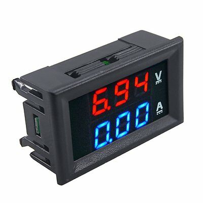HOT DC 100V 10A Voltmeter Ammeter Blue+Red LED Dual Volt Amp Meter Gauge@ T1