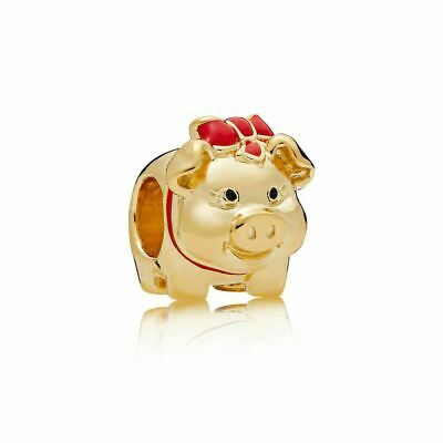 New Authentic Pandora Sterling Silver Piggy Bank Gold Red Black Red Enamel Charm
