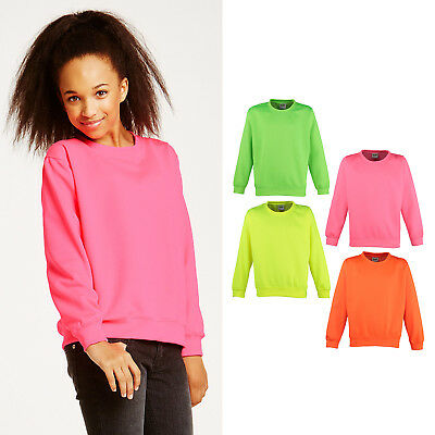 AWDis Just Hoods Kids Electric Sweatshirt -Boys Girls plain colourful stand out