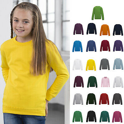 AWDis Kids Sweatshirt - Boys girls plain casual Crew top |25 Colour|Ages 3-13