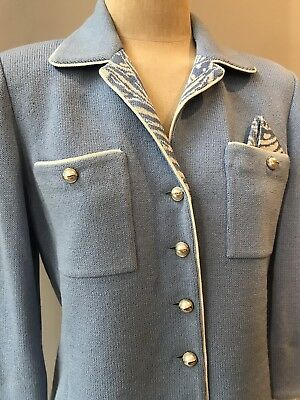 st john Collection By Marie Gray Size 6-8 Blue Knit 2pc Skirt Suit