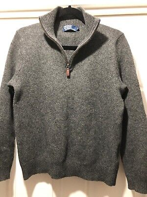 Mens Polo By Ralph Lauren Grey 100% Lambs Wool Zipped Pull Over Jumper (size M)