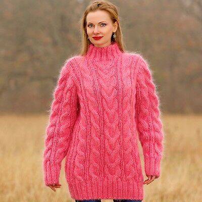 NEW pink mohair sweater cable knit jumper hand knitted thick jumper SUPERTANYA