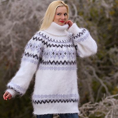 SUPERTANYA Hand Knitted White Grey Mohair Sweater Icelandic Nordic Warm Pullover
