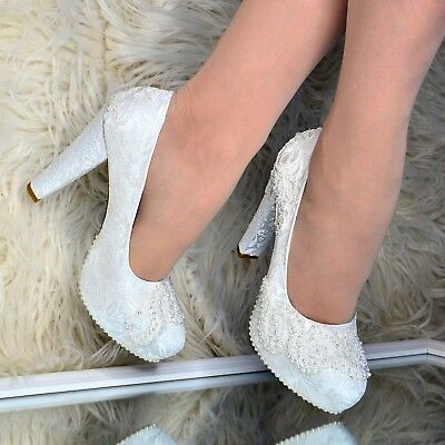Ladies Bridal Block Heel Shoes LACE & PEARLS Ivory Pumps Wedding court Shoe Size
