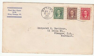 Canada: GVI FDC; Ottawa to Glasgow, 1 April 1937