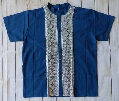 Mens Handmade Traditional Mexican Guayabera Shirt Large Fiesta Wedding