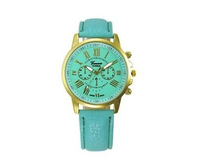 Women's Girl's Turquoise Faux Leather World Map Wrist Watch Bracelet NEW