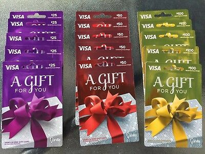 15 Un-activated Gift Cards 5- $25 5- $50 And 5- $100 Zero ($0) Value