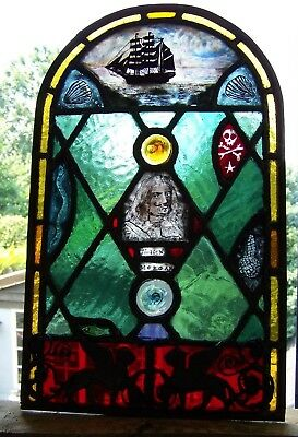 'Captain Morgan'/ pirate/nautical stained glass panel.