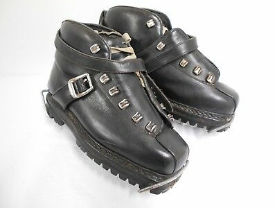 La Dolomite vintage hiking boots black leather with clamps made in italy 39 UK6