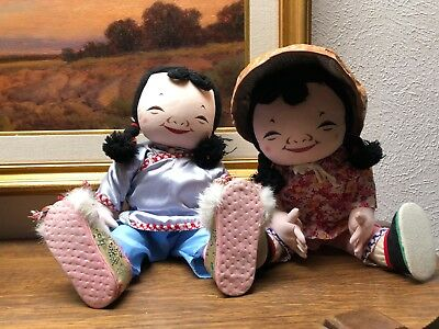 Vintage MICHAEL LEE Chinese Doll Little Girl Twins MICALE Cloth Character Dolls