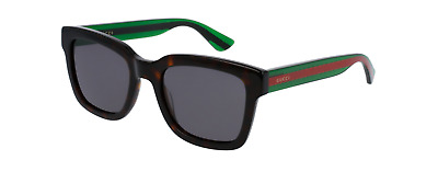 de97f6d4af4 Gucci GG0001S 003 Sunglasses Havana Brown Green Red Frame Dark Grey Lens  52mm