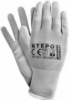 24 Pairs Pu Coated Nylon Protection Work Gloves Ppe Safety Precise Grip Garden