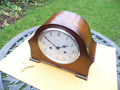 Vintage restored 1950s Enfield striking mantle clock  with brass key.