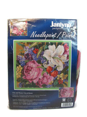 "Janlynn Lily and Roses Floral Wool Needlepoint KIT 14"" x 12"" NEW"