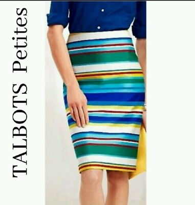 da82cbaef4 TALBOTS PETITES MULTI Color Striped Pencil Straight Skirt Size 6P ...